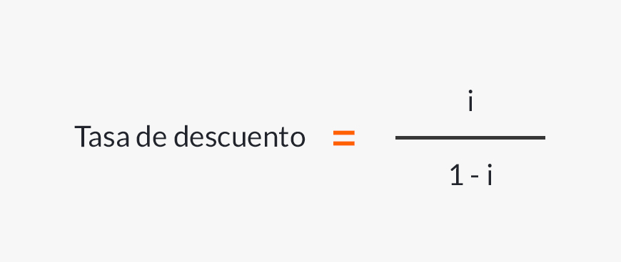 Fórmula para calcular la tasa de descuento.