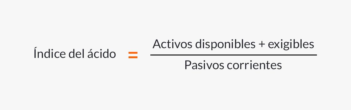 Fórmula para calcular el índice del ácido.