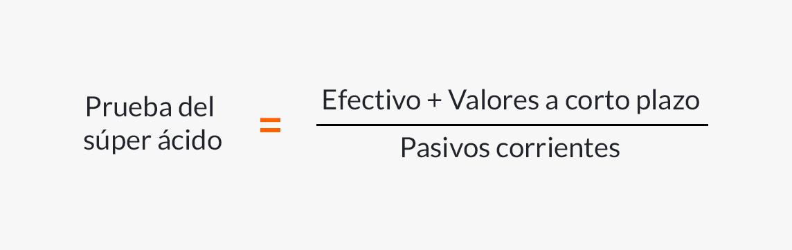 Fórmula para calcular la prueba del súper ácido.